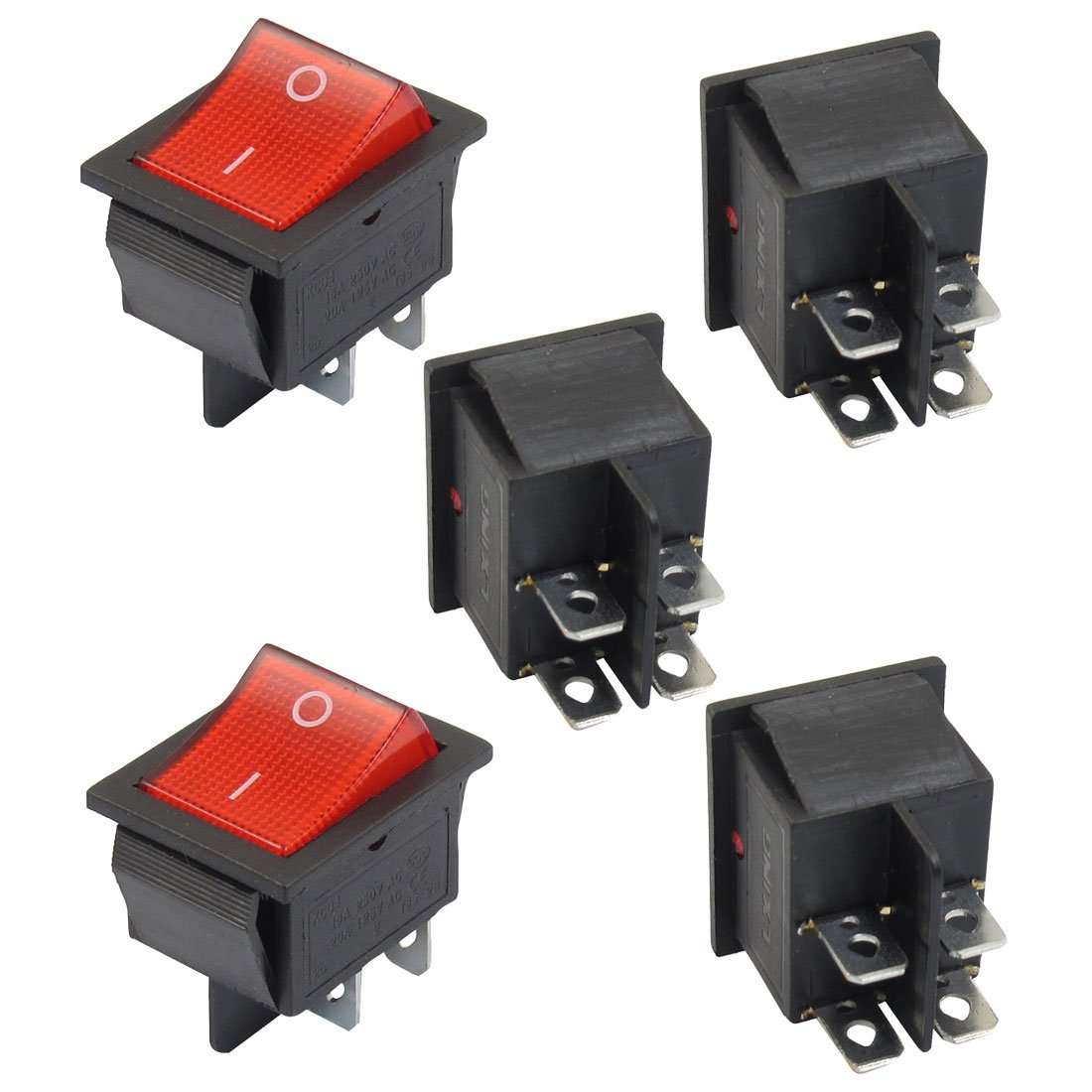 5 X Red Illuminated Light On Off Dpst Boat Rocker Switch 16a 250v Various Types Of Push Button Horn Toggle Simple Color Black Redmaterial Plastic Metal Total Weight 59gpackage Content Switches