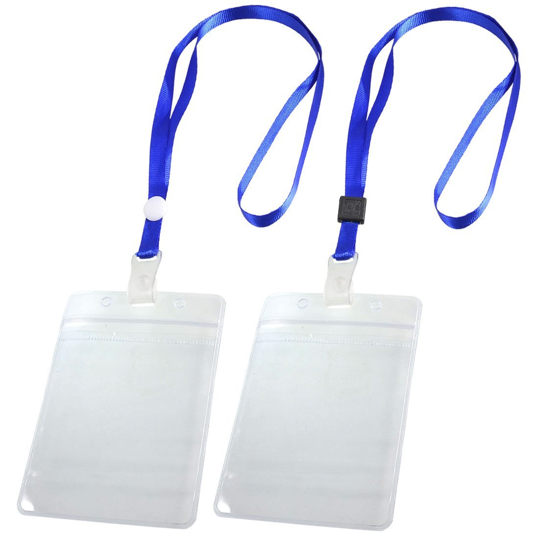 Details about 2 Pcs ID Card Badge Holder Adjustable Neck Strap Lanyard Blue  Clear AD fa55a124e