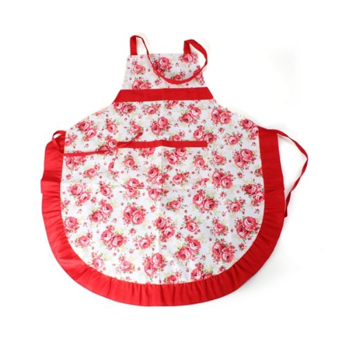 Frauen schuerze mit rueschen tasche floral rosen kueche for Arbeitskleidung küche