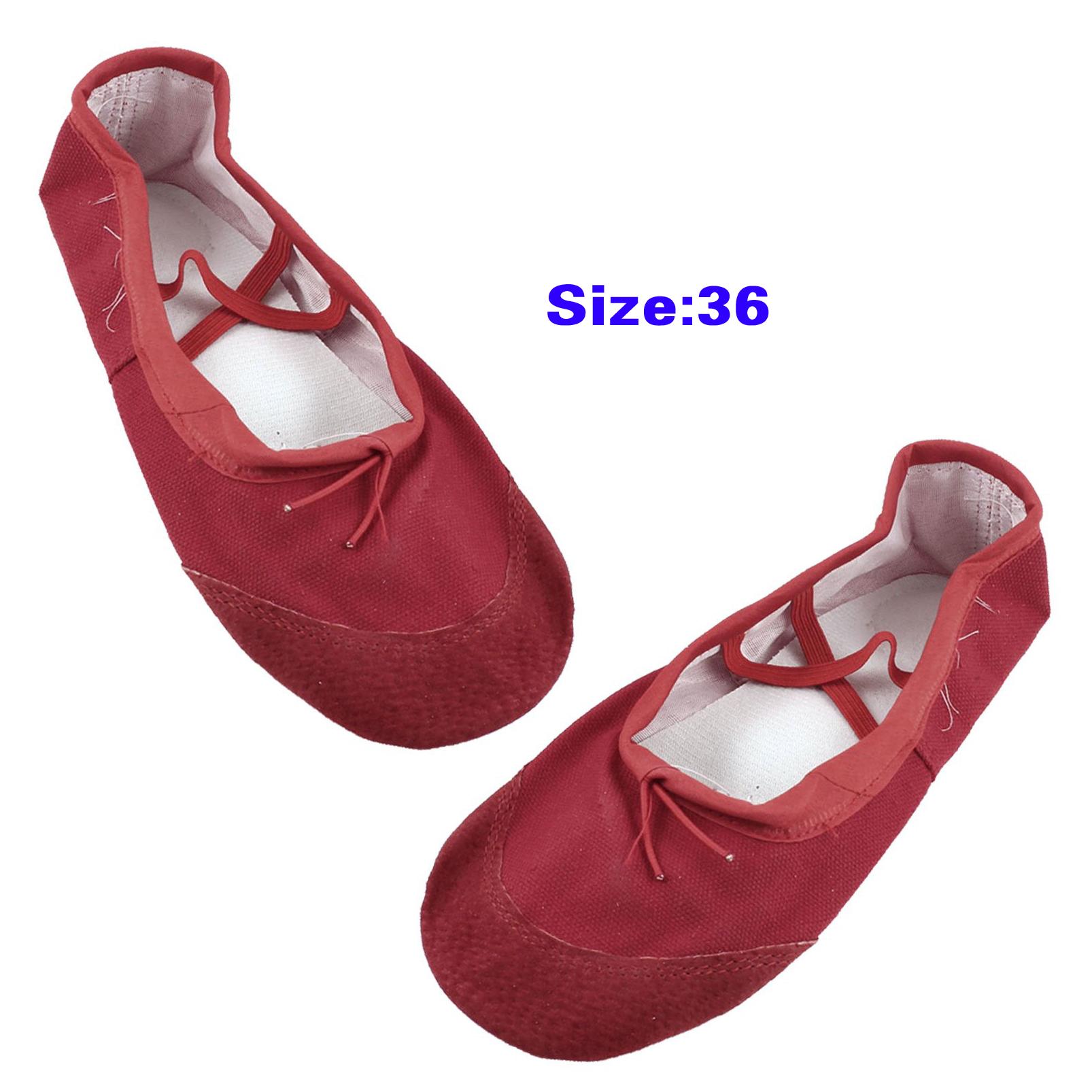 Women Red Faux Leather Split Sole Canvas Ballet Flats Shoes US 5.5 C2R9 D6O4