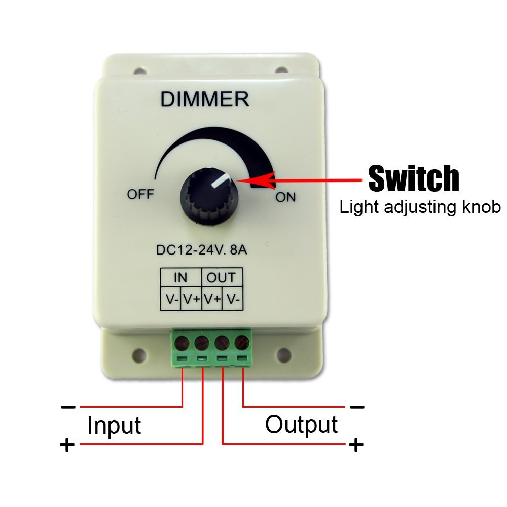 dc 12v 8a light dimmer brightness control for single color. Black Bedroom Furniture Sets. Home Design Ideas