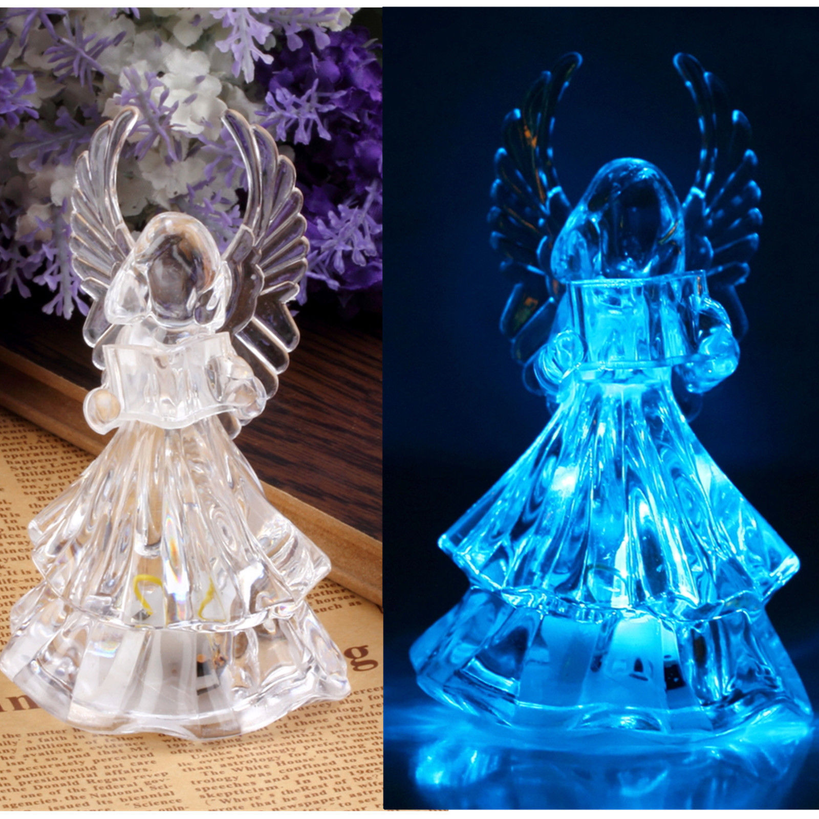 7 Colors Changing Crystal LED Christmas Angel Decoration ...