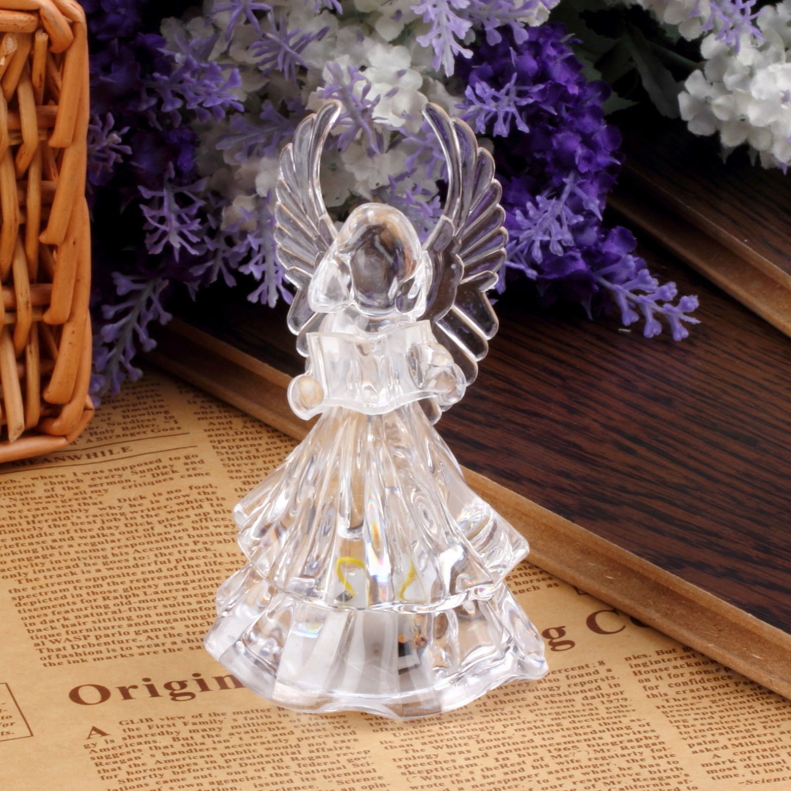 7 colors changing crystal led christmas angel decoration for Angel decoration