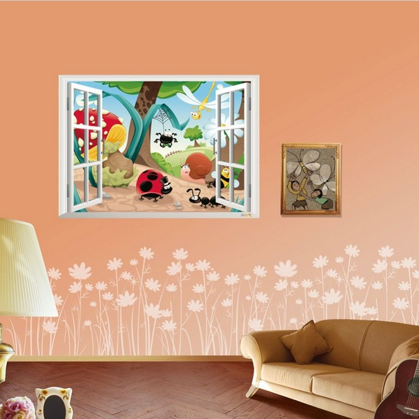 Window 3d view cartoon insect wall decal stickers kids for Room decor 5d stickers
