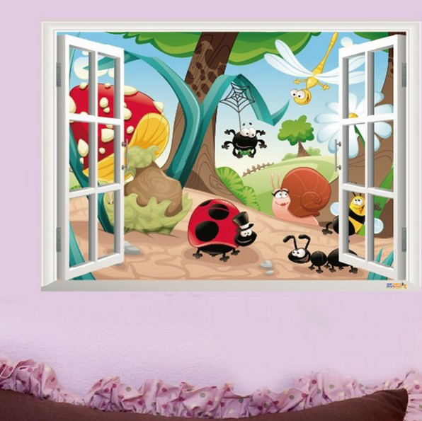 Window 3D View Cartoon Insect Wall Decal Stickers Kids Room Decor ED Part 62