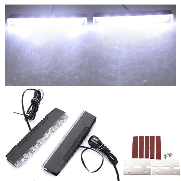 universal 2x 6 led auto tagfahrlicht tageslicht drl nebel. Black Bedroom Furniture Sets. Home Design Ideas