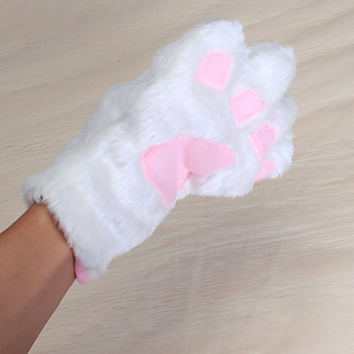 White Cat Set Paw Claw Gloves Ear Hairclip Tail Bow Tie Costume L3Z3 & White Cat Set Paw Claw Gloves Ear Hairclip Tail Bow Tie Costume L3Z3 ...