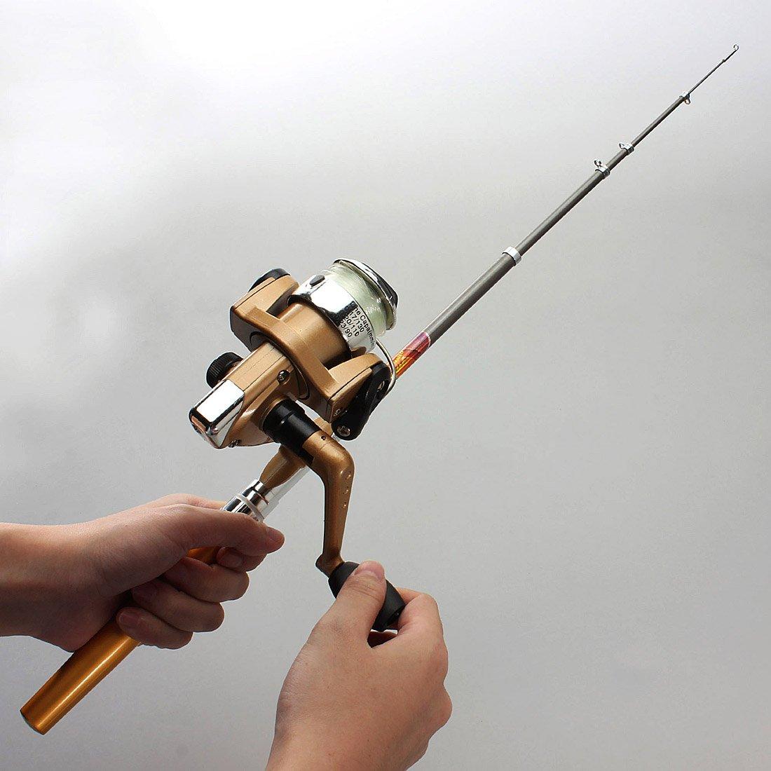 W6 telescopic fishing rod portable pen shape 1m reel for Pen fishing rod