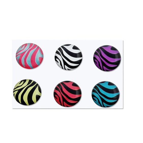 6 Pieces Zebra Patterns Home Button Sticker for Apple iPhone 4S N7P8