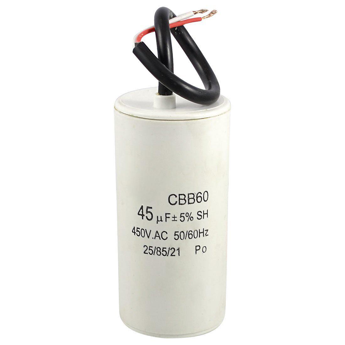 White Plastic Shell 45uf 50 60hz 450vac Cbb60 Motor Start