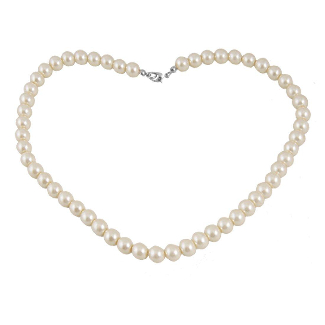 Pearl Necklace Clasp: Plastic Screw Clasp White Single Strand Faux Pearl