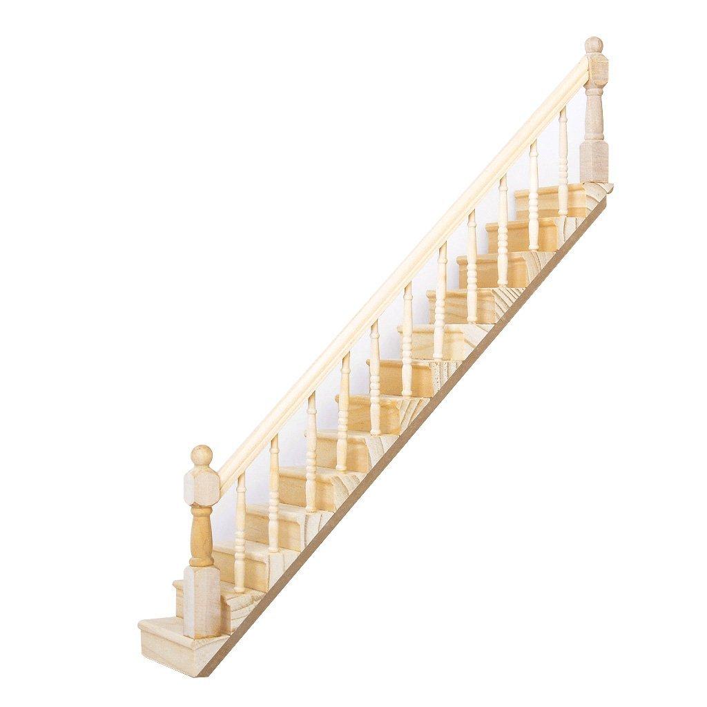 1 12 casa de munecas de madera escalera baranda derecha 45 for Escaleras 45 grados