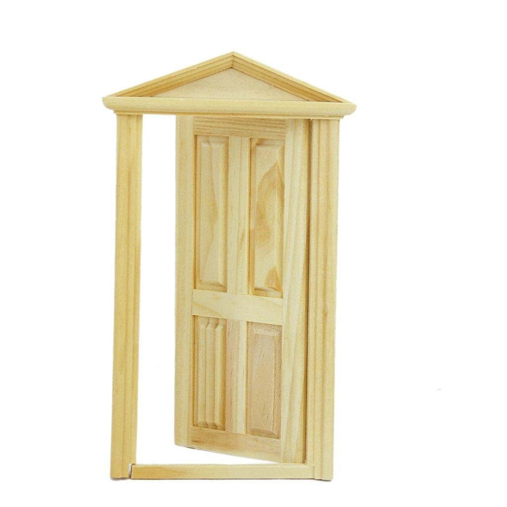 1 12 dollhouse miniature exterior inward open wood door for Outdoor wooden door
