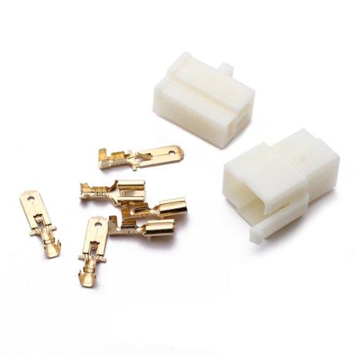 5x set 3 polig stecker steckverbinder flachstecker motorrad roller auto de ebay. Black Bedroom Furniture Sets. Home Design Ideas