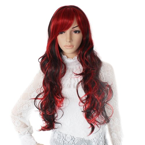 peruecke cosplay party langhaar zweithaar lockig wig fasching rot schwarz gy ebay. Black Bedroom Furniture Sets. Home Design Ideas