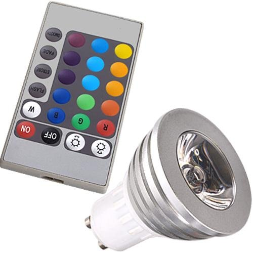 3w gu10 16 couleurs changeant rgb led lumiere ampoule avec telecommande wt ebay. Black Bedroom Furniture Sets. Home Design Ideas