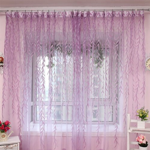 2x organza blaetter vorhang tuer fenster haus dekoration violett de ebay. Black Bedroom Furniture Sets. Home Design Ideas