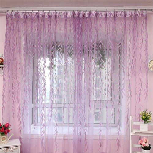2x voile organza rideau feuille decoration de porte maison for Taille rideau fenetre