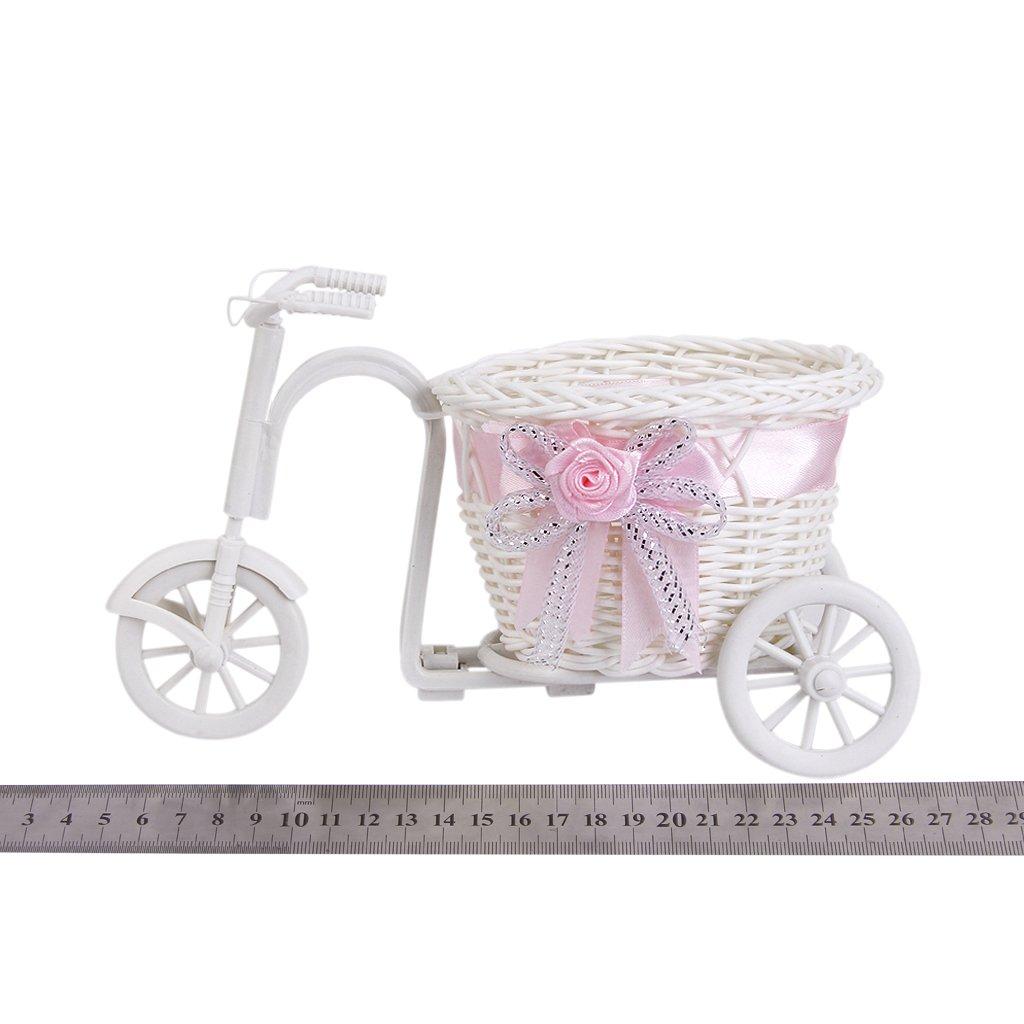 3x handgefertigte rattan blumen dreirad fahrrad korb fuer blumen vase gy ebay. Black Bedroom Furniture Sets. Home Design Ideas
