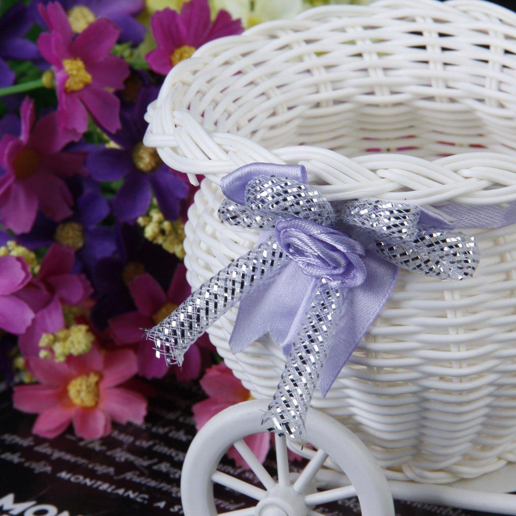 5x rattan blumen dreirad fahrrad korb fuer blumen vase dekoration de ebay. Black Bedroom Furniture Sets. Home Design Ideas