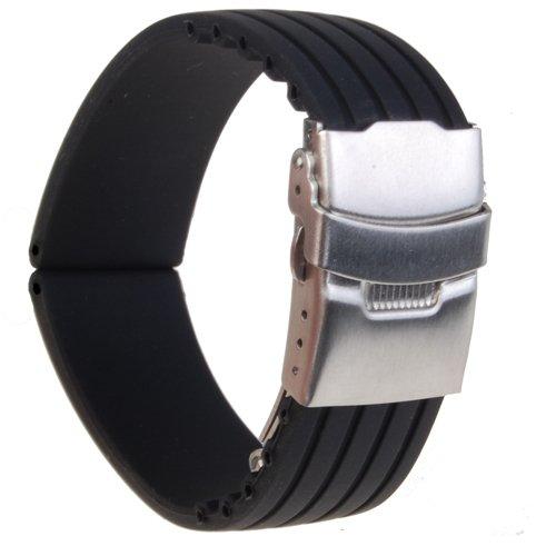 uhrenarmband armband silikon gummi faltschliesse wasserfest 18 mm de. Black Bedroom Furniture Sets. Home Design Ideas