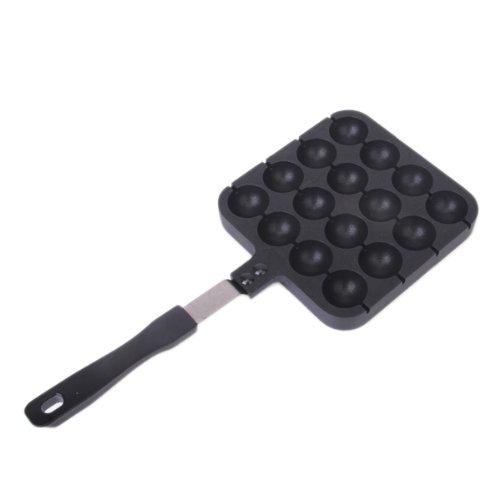 s2 16 formen takoyaki pfanne mit griff schwarz ebay. Black Bedroom Furniture Sets. Home Design Ideas