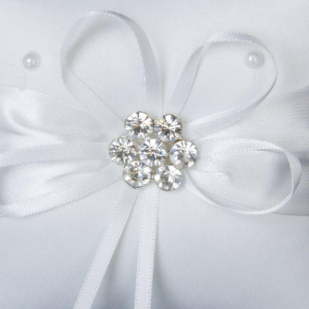 10cmx10cm satin flower beaded wedding pocket ring pillow