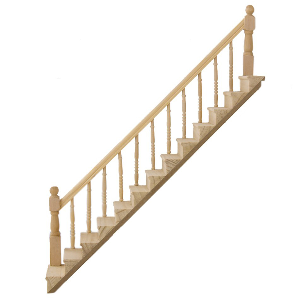 1 12 dolls house wooden staircase left handrail pre for Pre built staircase