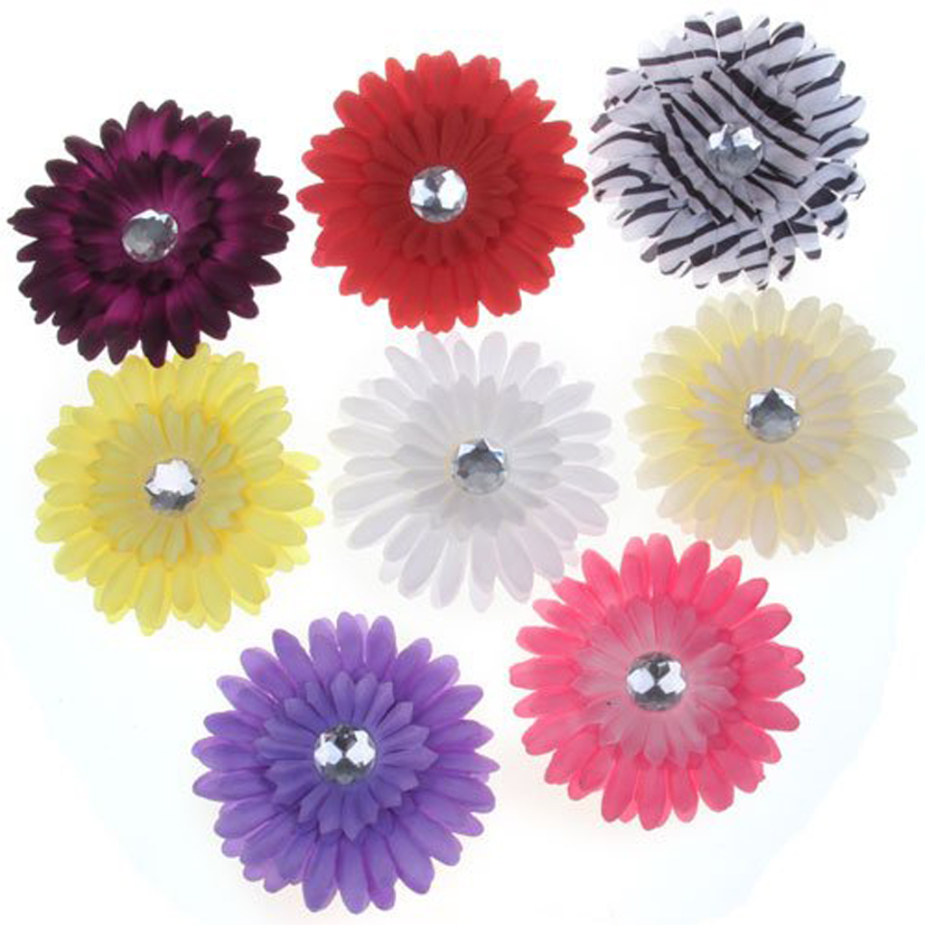 8 X Clips Hair Pins With Daisy Flower And Rhinestone For Baby Girls