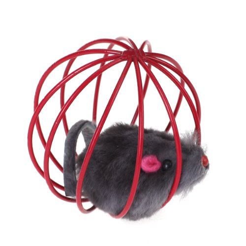 Pet Cat Funny Playing Toy Teal Fake Mouse Mice Rat In Cage Ball V1N2 I8R1