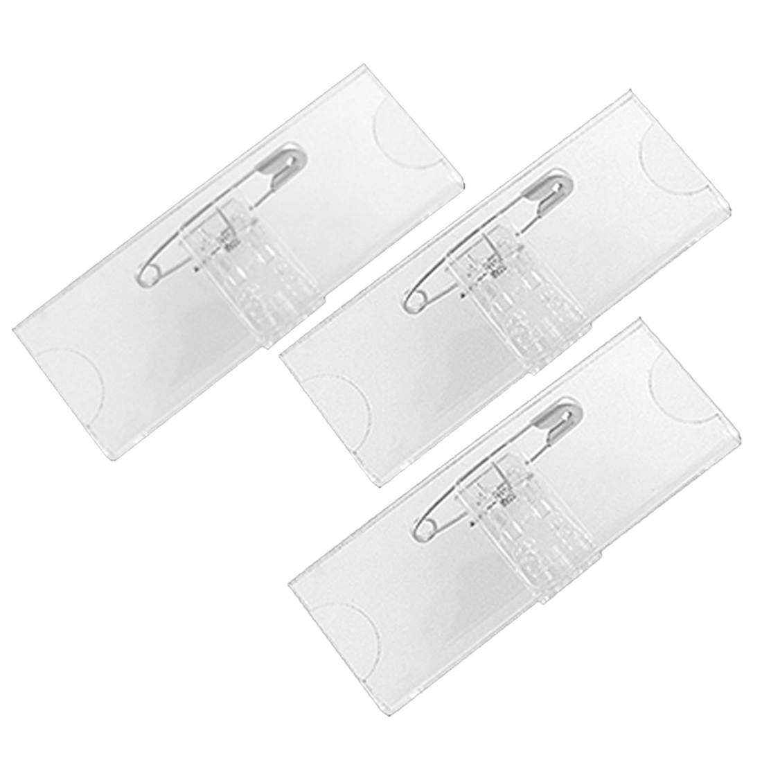 Safetypin Clear Hard Plastic Name Tag Clip Holder 3 Pcs Ws