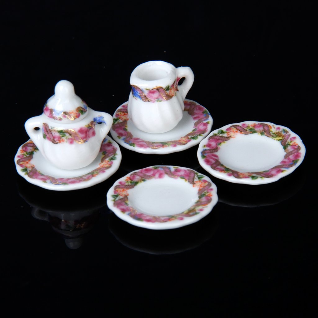 5x puppenhaus porzellan tee set tasse teller buntes blumenmuster gy ebay. Black Bedroom Furniture Sets. Home Design Ideas
