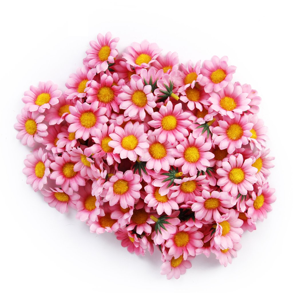 100pcs Artificial Daisy Flowers Heads For Wedding Party Light Pink