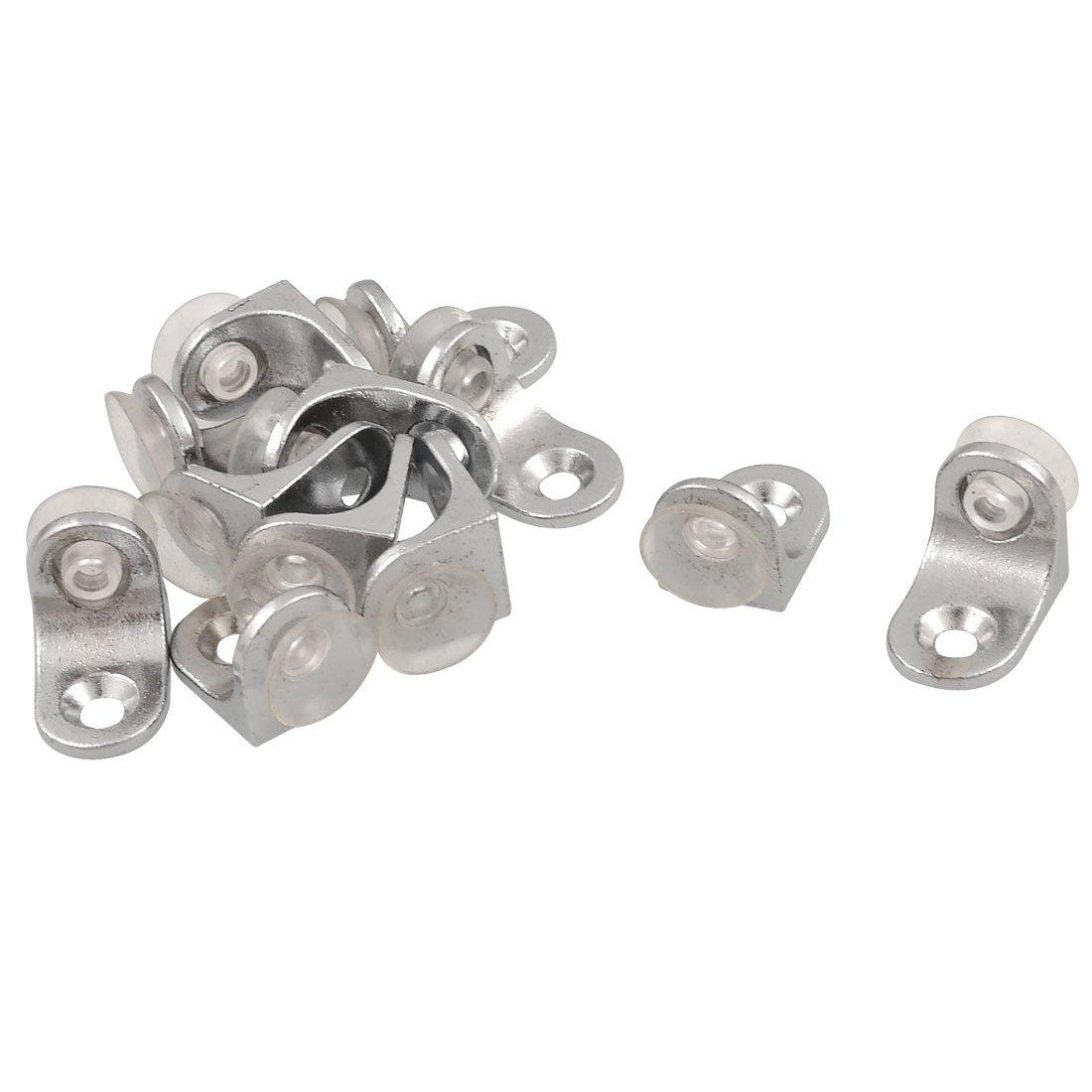 metal glass shelf support holder silver tone 12 piece. Black Bedroom Furniture Sets. Home Design Ideas