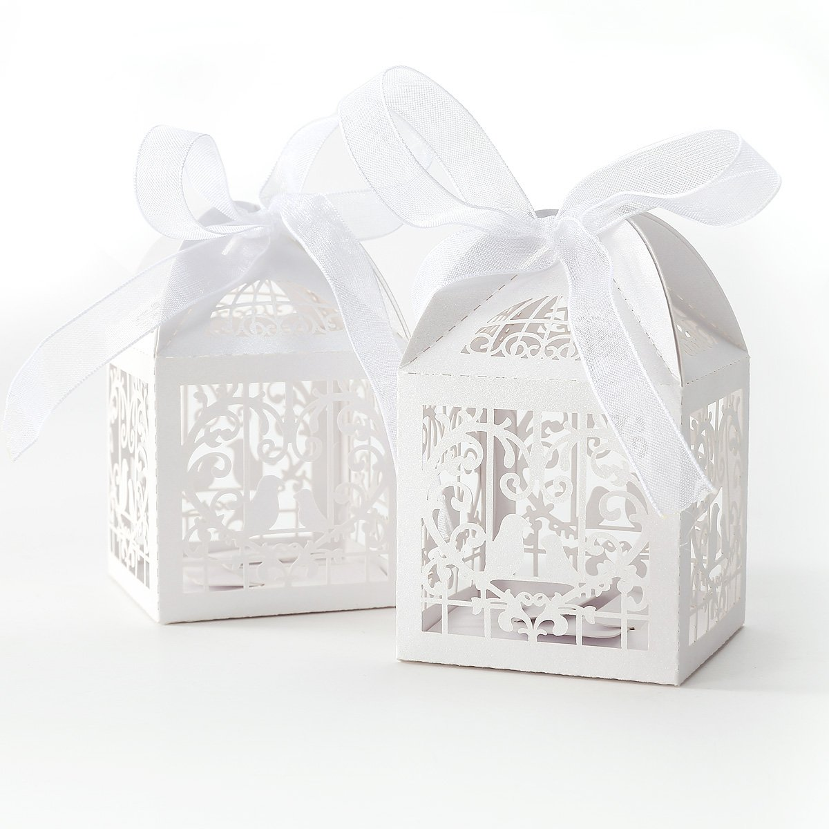 50x Dragees Box Candy Heart White Bird Cage For Wedding Baptism Q2p1