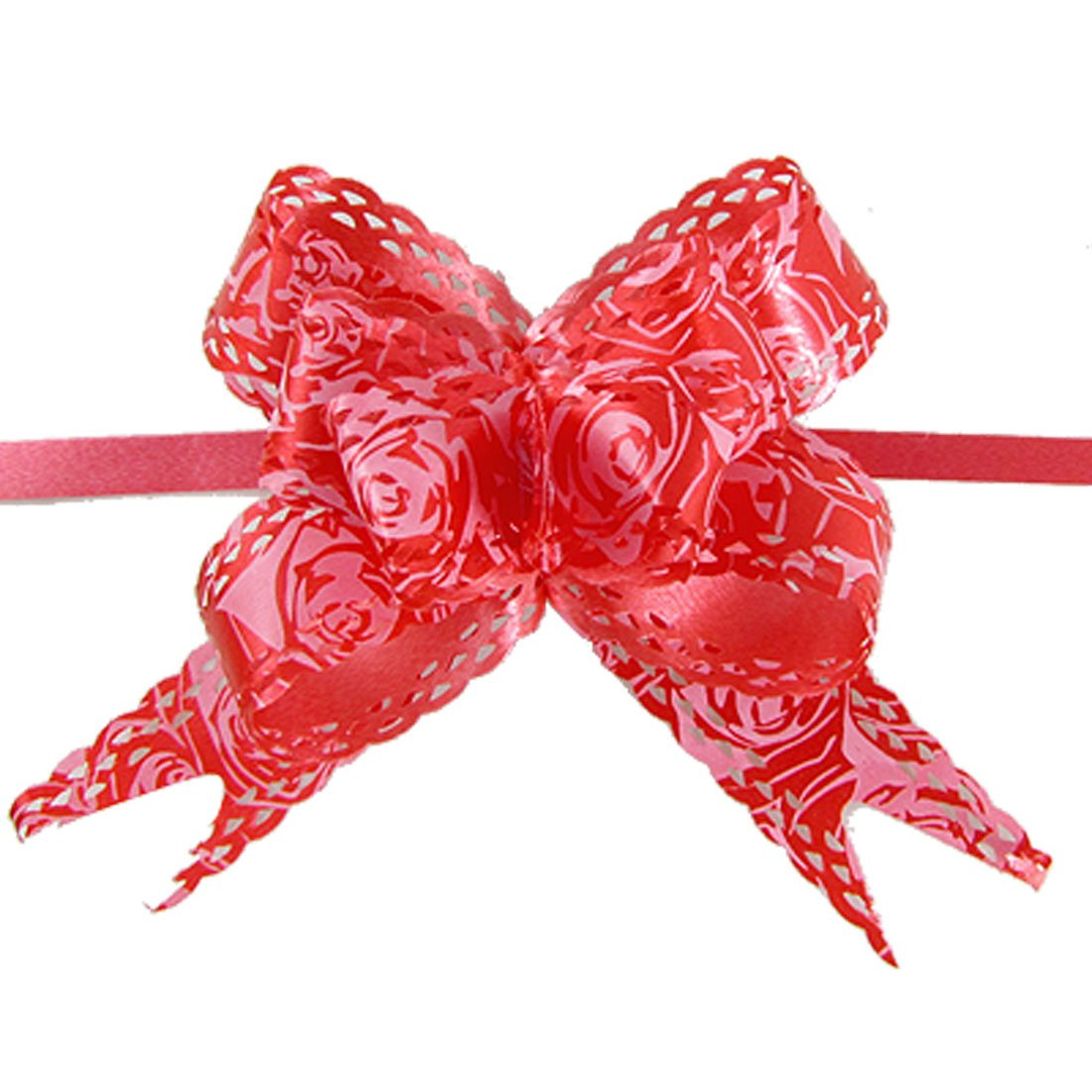 Rose print christmas decoration gift wrap red pull bow ribbon 10 pull bow ribbon is for decoration use perfect for embellishment gift wrapping packaging bows and scrapbooking they are also fit for decorating your negle Images