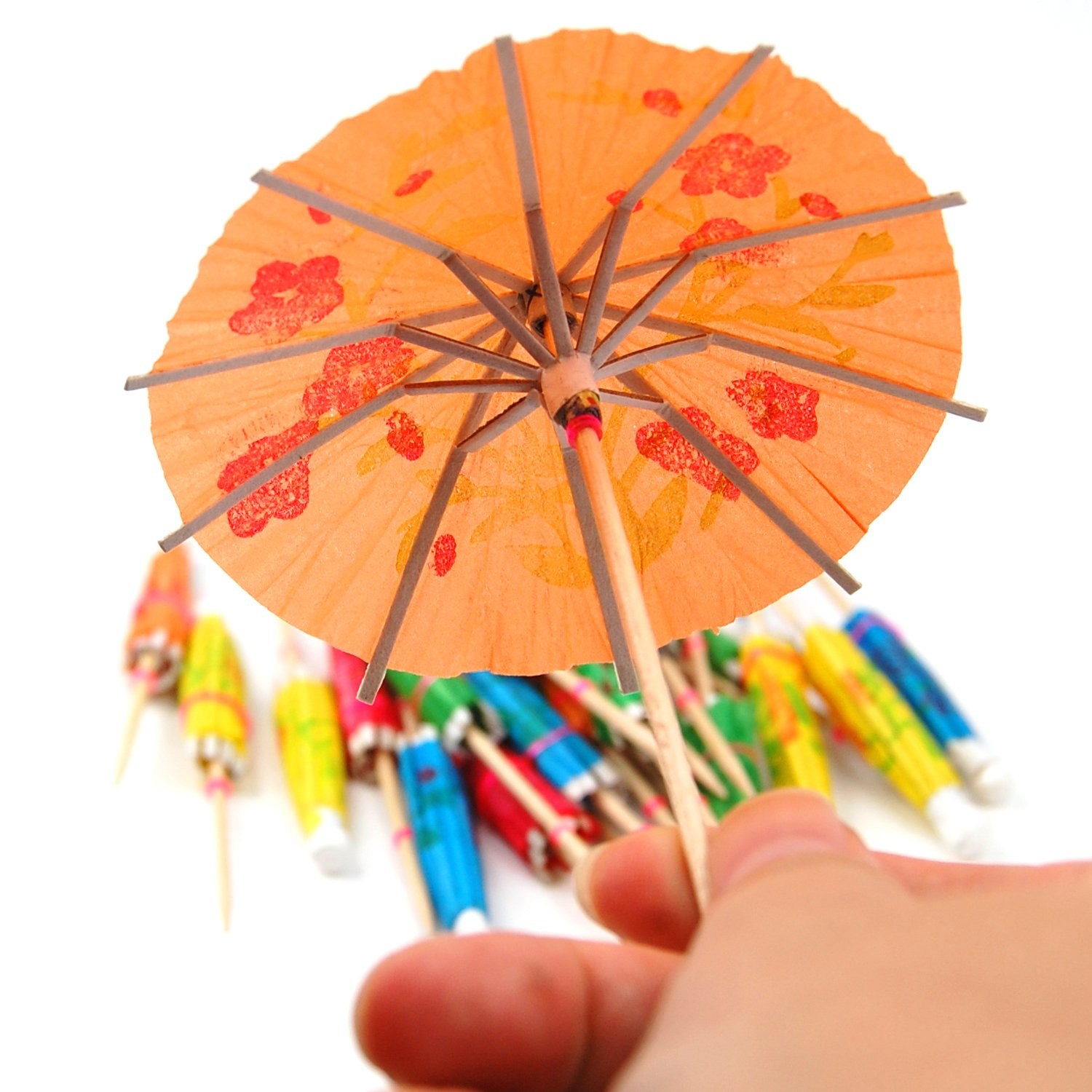 24 Coloured Paper Tail Umbrellas Parasols Drink Accessories Ws