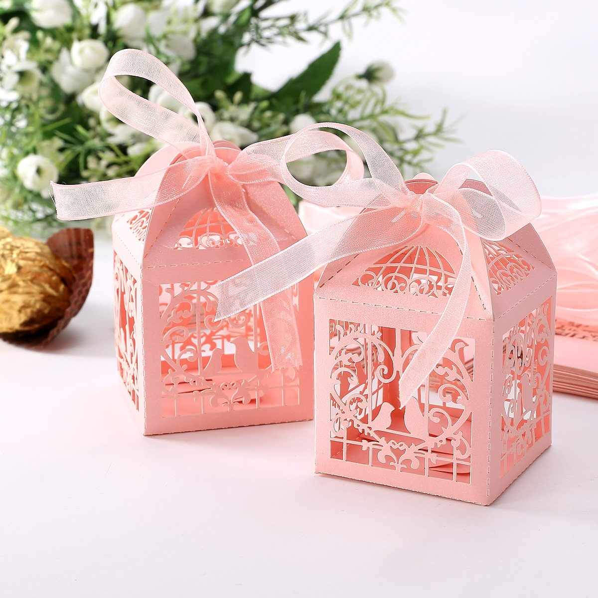 25pcs boite a dragees bonbons coeur oiseaux rose pour mariage wt ebay. Black Bedroom Furniture Sets. Home Design Ideas