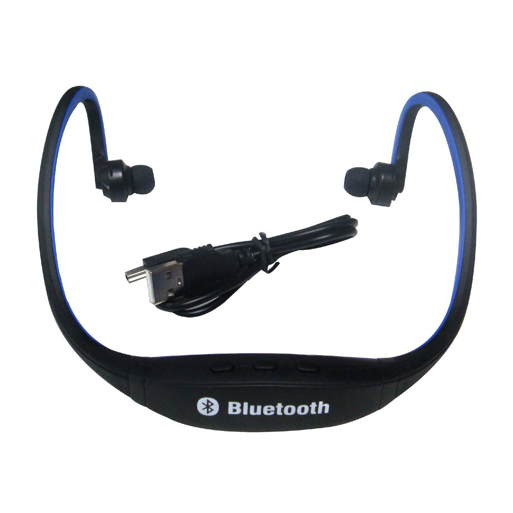 sports wireless bluetooth headset headphone for cell phone pc blue e6u9 ebay. Black Bedroom Furniture Sets. Home Design Ideas