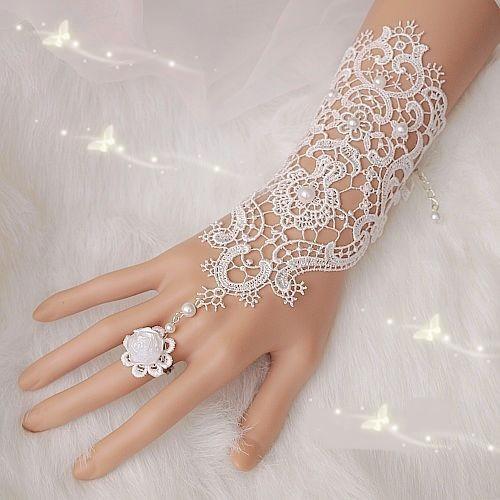 H1 White Ivory Pearl Lace Wedding Bride Bridal Gloves Ring Bracelet