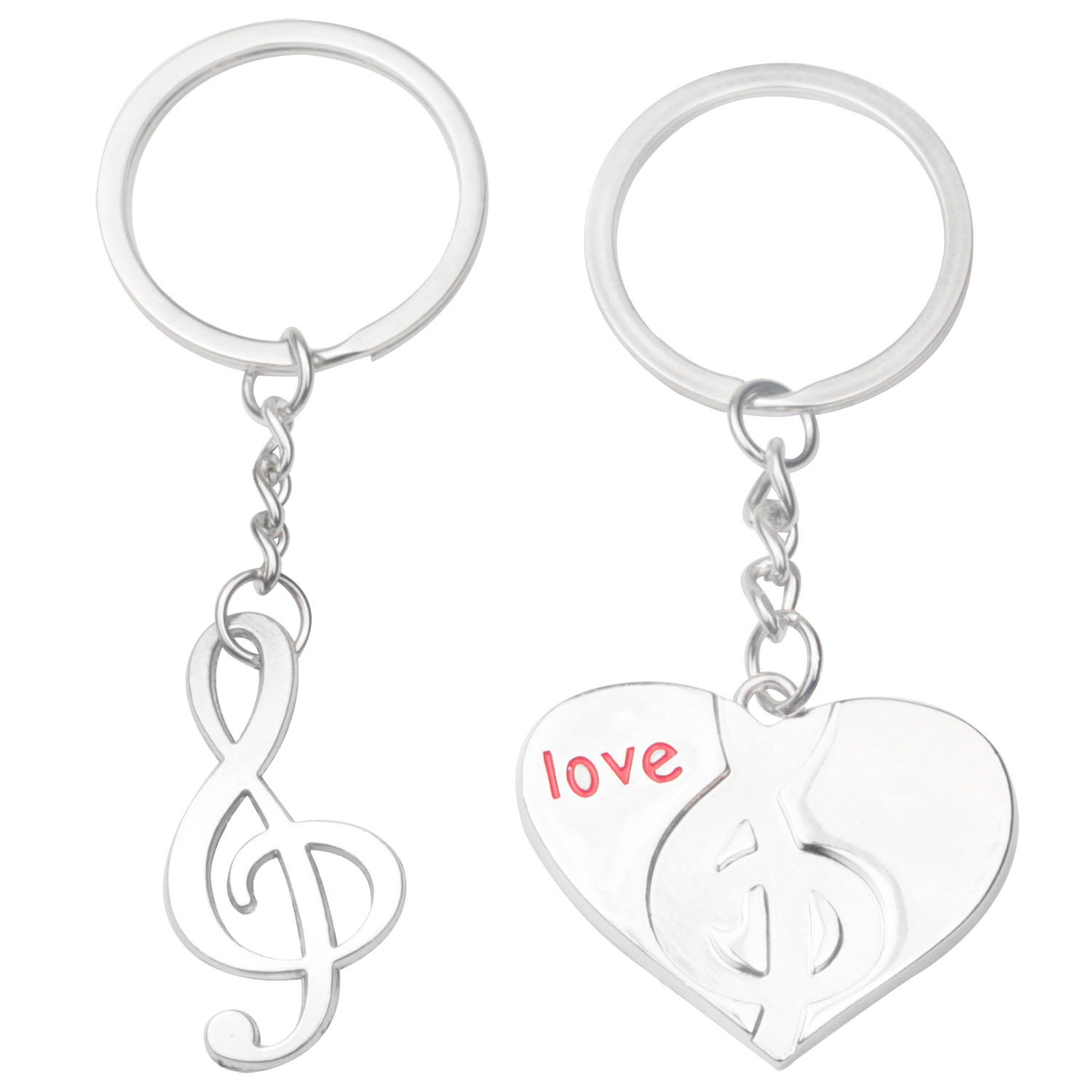 a07a8cef346 Details about Couple Love Heart and Note Shape Keychains Key Ring(Silver,1  Pair) M4B7