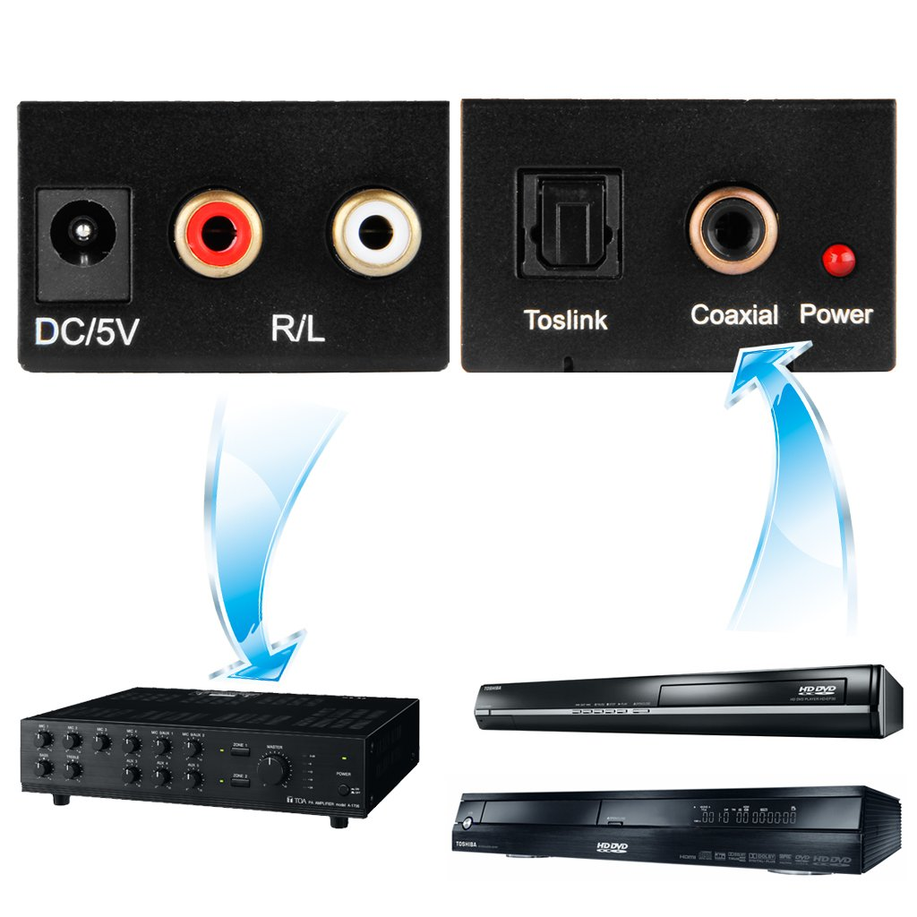 convertisseur numerique coaxial toslink vers analogique l r noir y3 ebay. Black Bedroom Furniture Sets. Home Design Ideas