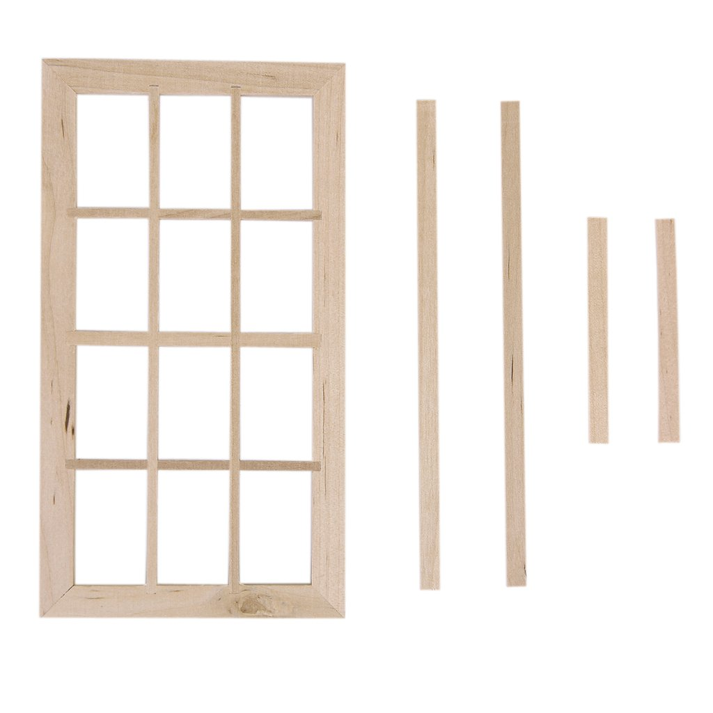 Wooden traditional 12 pane window frame 1 12 scale for 12 pane door
