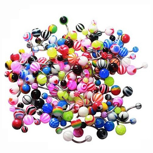 Details About 14g Belly Ring Assorted Lot Of 100 Belly Button Rings Navel Banana Piercing Ad