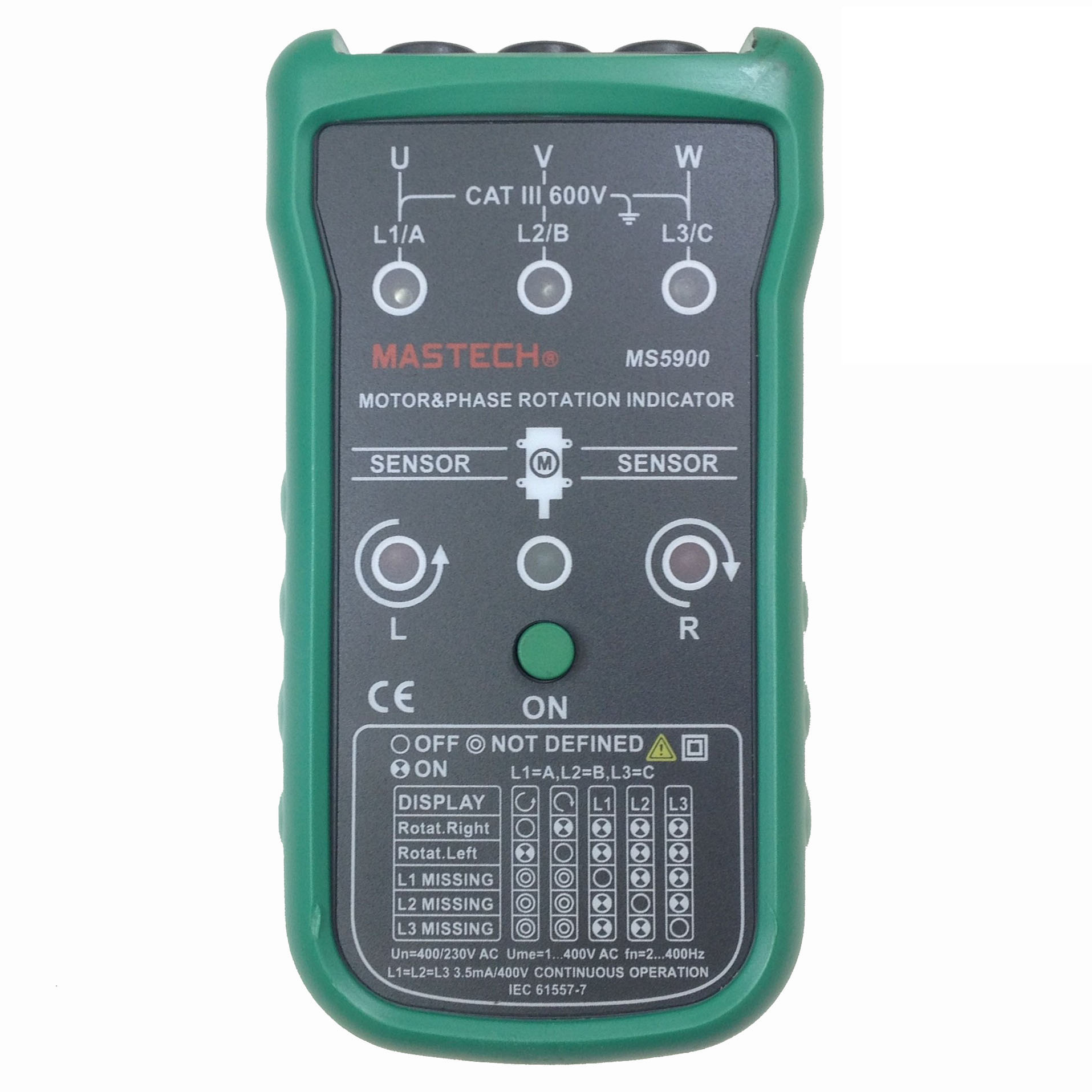Mastech ms5900 three phase rotation indicator bf ebay motor and phase rotation indicator is a handheld battery operated instrument designed to detect rotary field of three phase systems and determine sciox Gallery