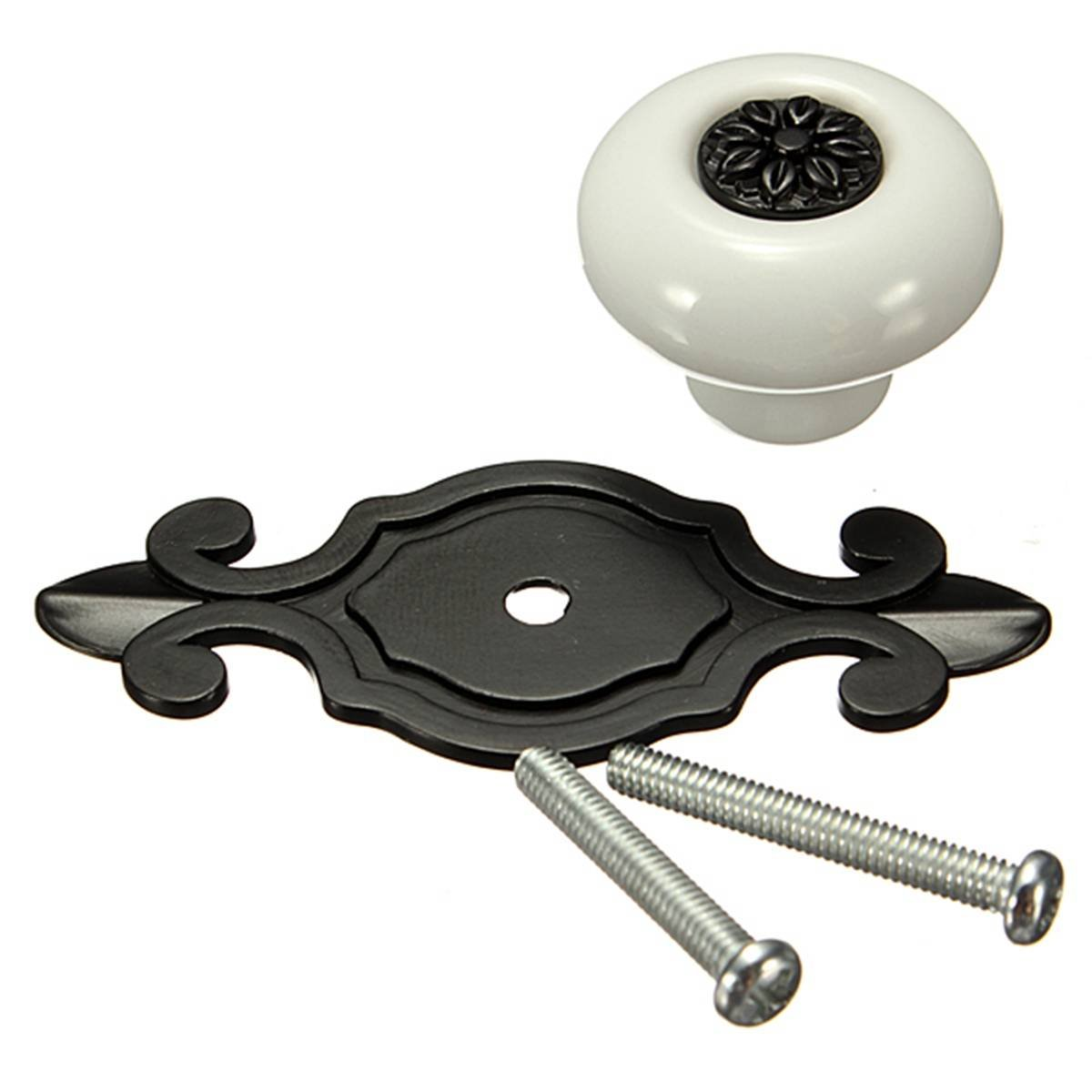 boutons de poignee en ceramique de porte d 39 armoire de tiroirs blanc noir i4q3 ebay. Black Bedroom Furniture Sets. Home Design Ideas