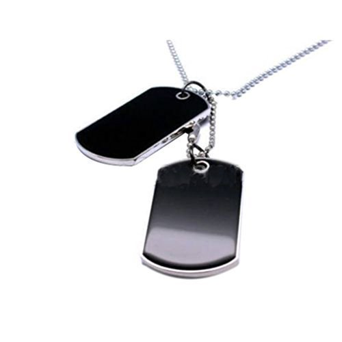 2XNew Style Black 2 Dog Tags Chain Beauty Mens Pendant Necklace G5P1