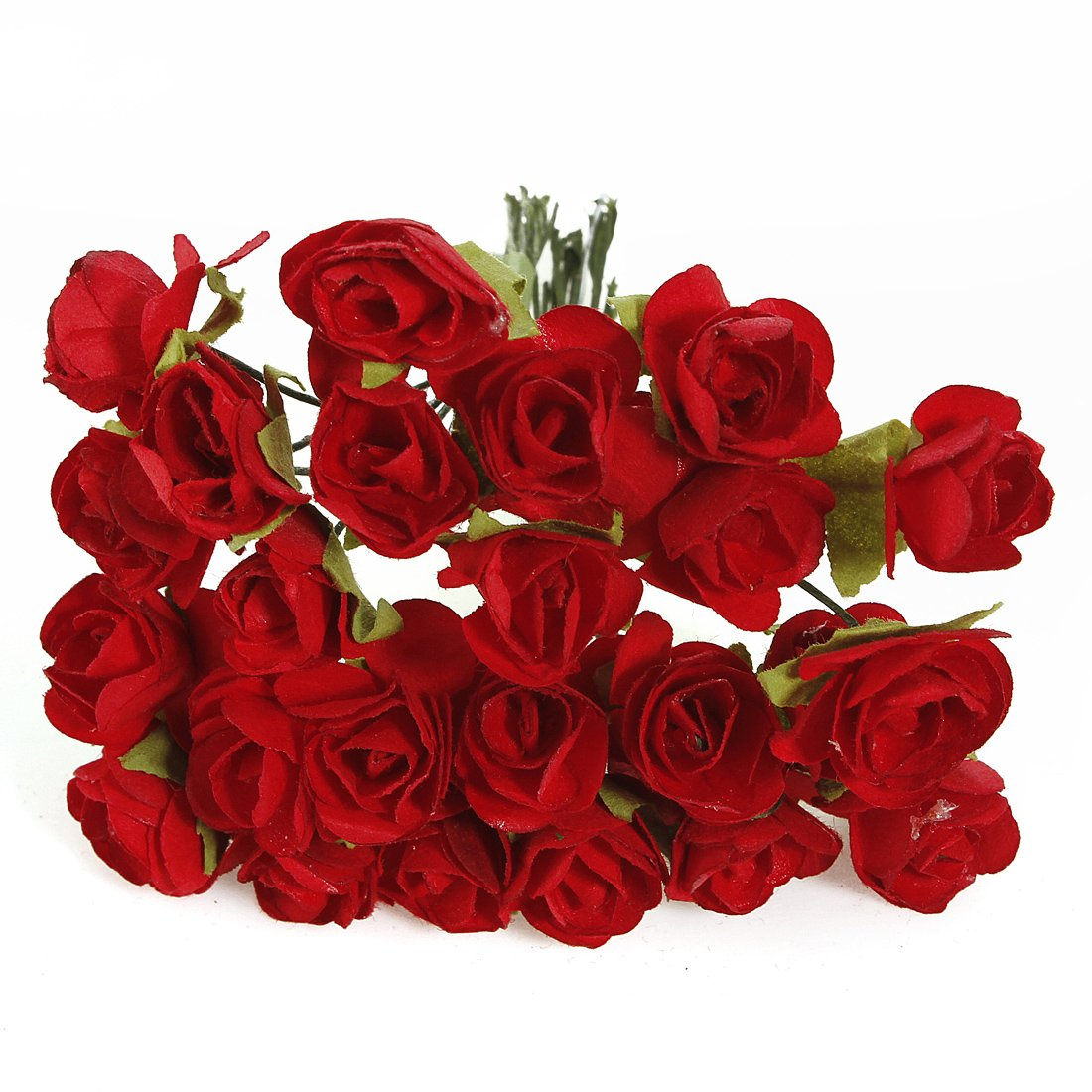 144 X Artificial Paper Red Rose Flower Wedding Craft Decor Ad