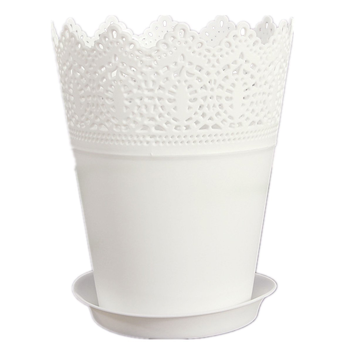 blanc dentelle vase pot de fleurs en plastique wt ebay. Black Bedroom Furniture Sets. Home Design Ideas