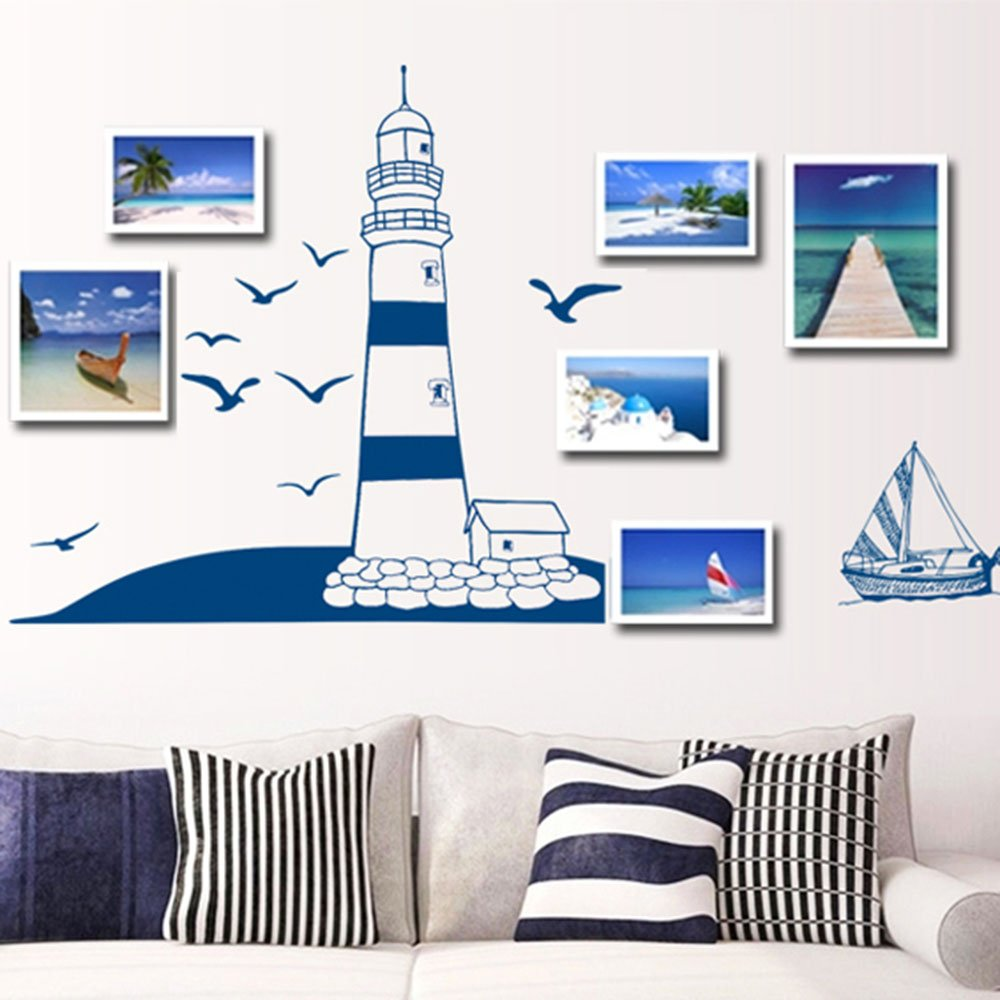 Lighthouse seagull sailboat pvc art wall stickers - Removable wall stickers living room ...